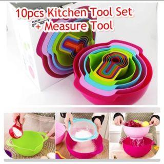 Model: KA038 10 Pcs Style Trendy Colorful Mixing Bowls Set With Measuring Cups