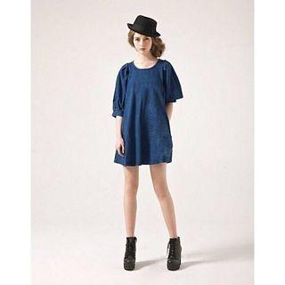 (全新) 轉售 Pazzo.法式復古蓬蓬七分袖單寧牛仔傘狀娃娃裙洋裝-牛仔 - M
