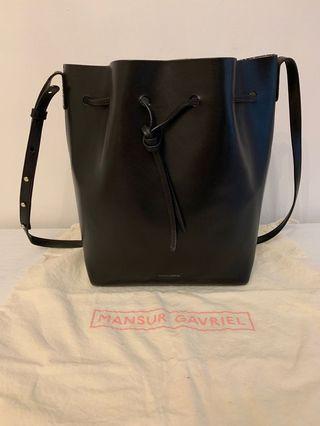 Authentic Mansur Gavriel Large Bucket - Black & Silver
