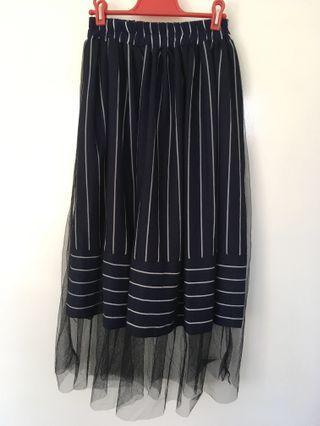 Navy striped mesh midi skirt