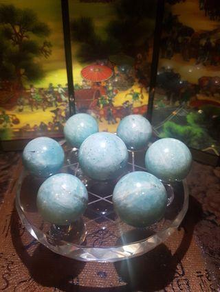 Amazonite star of david crystal ball 天河石球七星阵