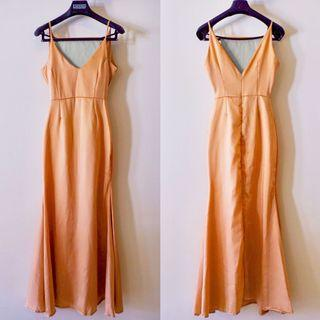 Long Gold Slip Satin Dress with low cut front and back (nego tipis) / party dress / prom dress