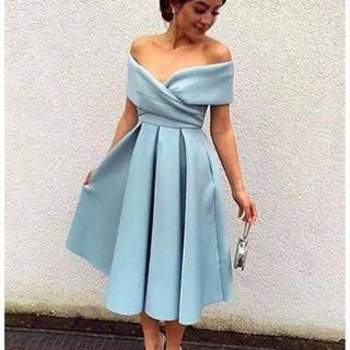 jual gaun bridesmaid biru - gaun pesta - promnight dress - gaun mc - guan singer - midi dress import