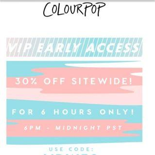 COLOURPOP 30% OFF SITEWIDE #RAYAHOME