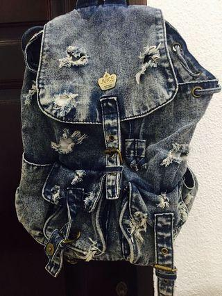 Korean Fashion Ripped Denim Bagpack