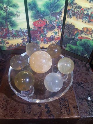 Citrine crystal ball star of david wif star ray 黄水晶球七星阵带星光