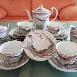 Antique Hand Painted Dragon Tea-Set