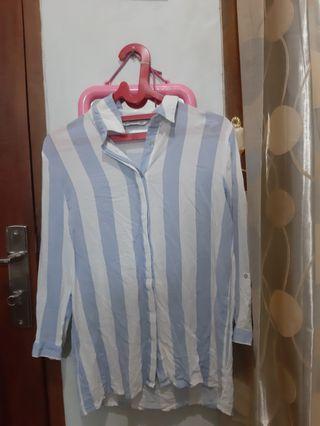 Wide striped blue sky shirt