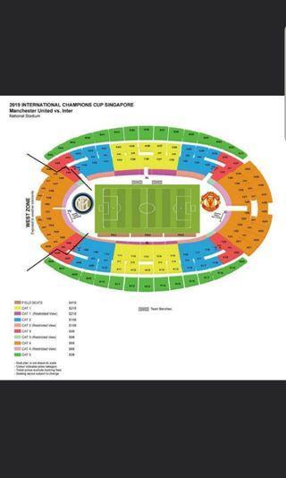 4 tickets - ICC Manchester United vs Inter Milan tickets