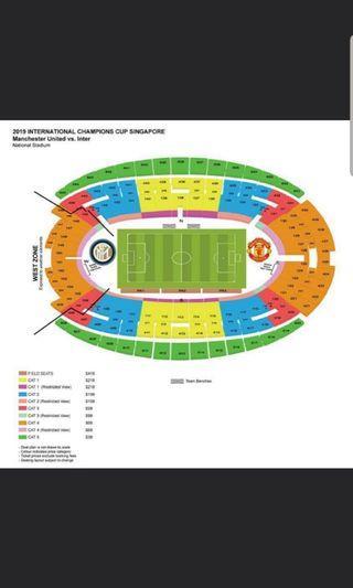 1 ticket - ICC Manchester United vs Inter Milan