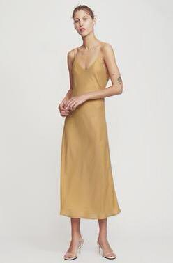Silk Laundry Gold 90s Slip Dress Gold S