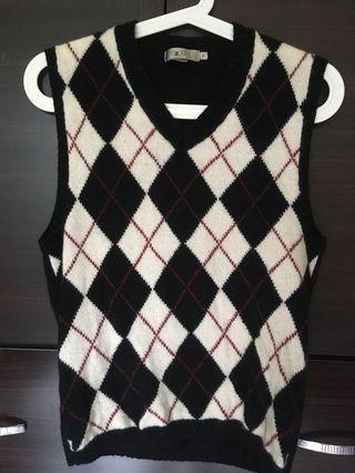 🚚 G2000 羊毛混紡針織菱紋V領背心