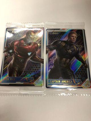 全新Marvel Avengers 4 餅咭 ironman n CA 每張$40,全要$70