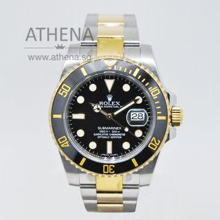 "ROLEX ""HALF-GOLD"" OYSTER PERPETUAL SUBMARINER DATE CERAMIC ""AN"" SERIES ""BLACK DIAL"" 116613LN WLWRL_1142"