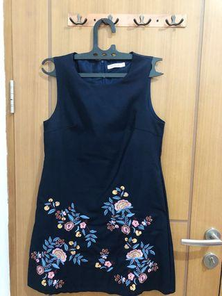 Flower Dress Vintage ( Navy Color )