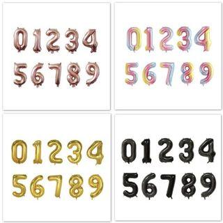 40 Inch Number Foil Balloons (0-9) with Helium - Rose Gold/ Gold/ Silver/ Rainbow/ Black