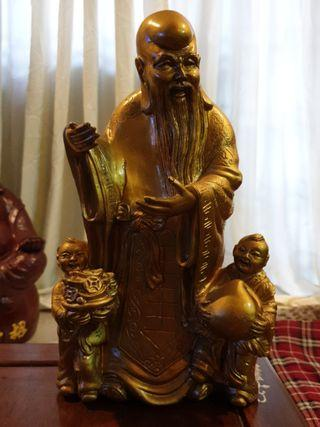 Chinese vintage God of fortune with kids statue