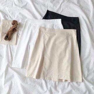 棉麻後橡筋腰A Line裙