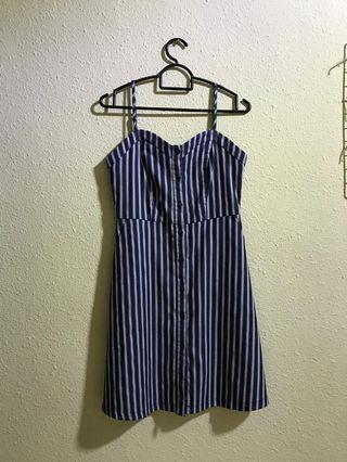 playdress stripe blue dress ulzzang