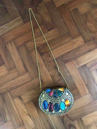 🚚 Moroccan brass & stone handbag