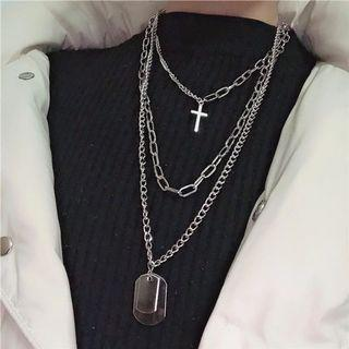 E-Girl Multilayers Silver Metal Necklace