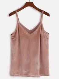 Pink Velvet Camisole Spaghetti Strap Top