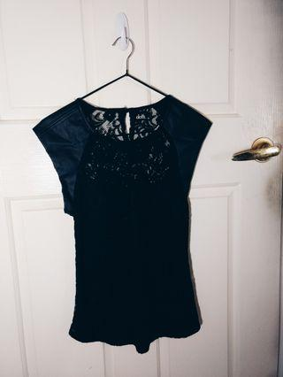Black Leather & Lace Top