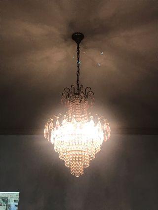 Lampu Gantung Hias Chandelier Crystal Lamp Pink S1