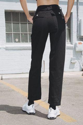 bnwt brandy melville kim cargo/military straight cut pants in black ~ tilden jane editors market pull&bear bershka factorie