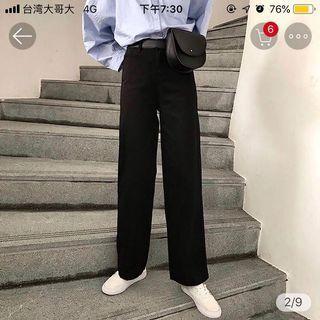 素色 牛仔 直筒褲 寬褲