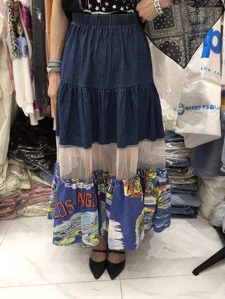 韓國牛仔拼接紡紗長裙