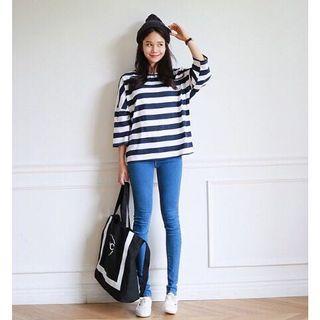 正韓製 Urban jeans 彈性修身天空藍窄管鉛筆牛仔褲