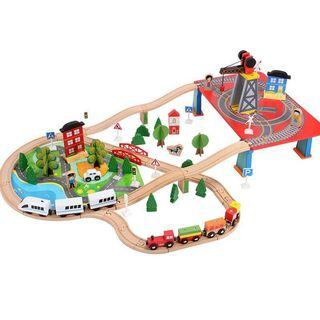 Wooden train track toys set 88pcs (278)