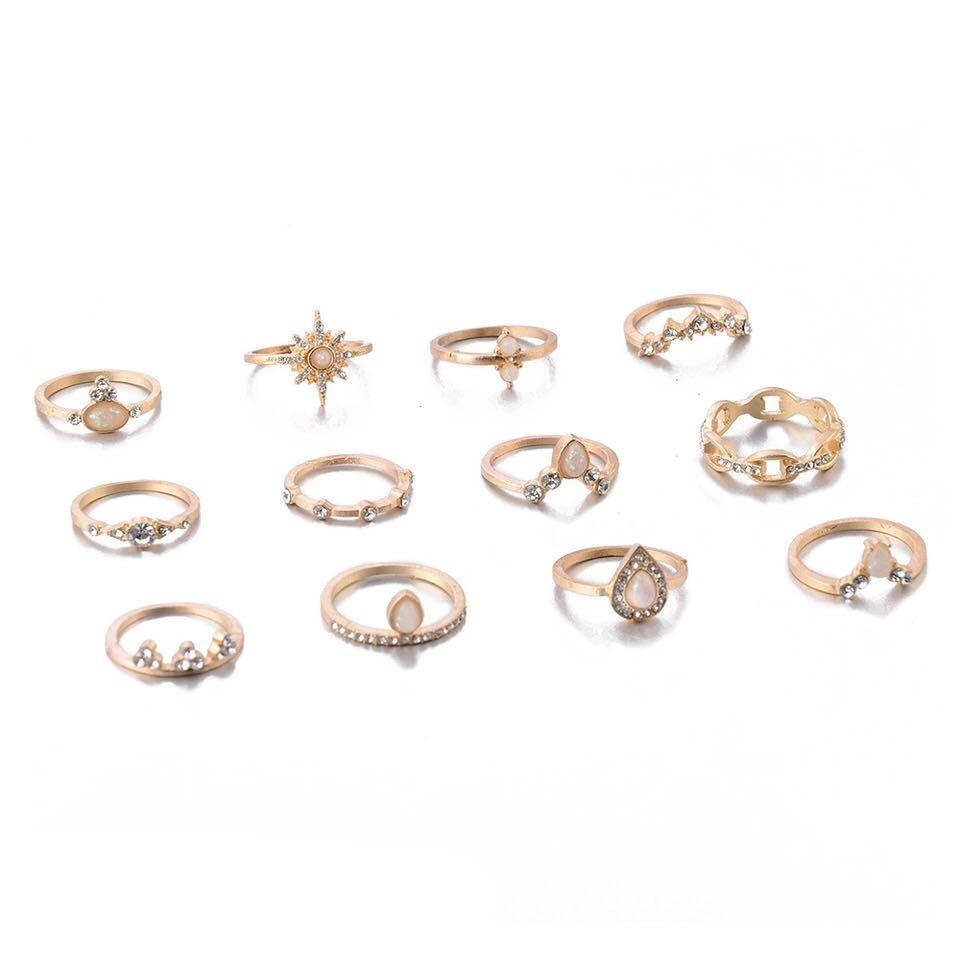 12 Pcs Crown Water Drops Stars Geometric Crystal Rings