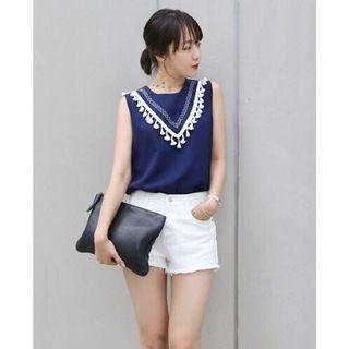 正韓製 realcoco 質感民族風雪紡流蘇無袖上衣 藍色