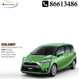 2016 Toyota Sienta For Rent With PHV Incentive