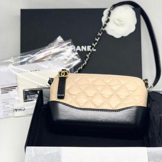 NBU Chanel Gabrielle clutch on chain #24 Two tone beige black calf skin Size 19x10 cm Full set Ori rec EU, db, holo, care card, box, ribbon, paperbag