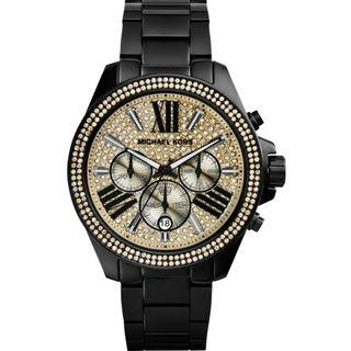 🚚 Michael Kors Wren Chronograph Crystal Pave Dial Black Ion-plated Ladies Watch MK5961