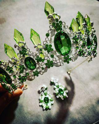 Instock 1piece Green Tiara