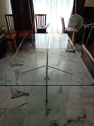 Glass Dining Table with 6 Wooden Chairs