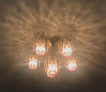 Lampu Hias Gantung Crystal Chandelier Lamp Red Lightning