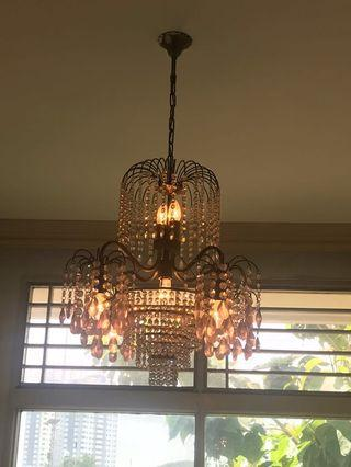 Lampu Gantung Hias Crystal Chandelier Lamp lightning Pink S2