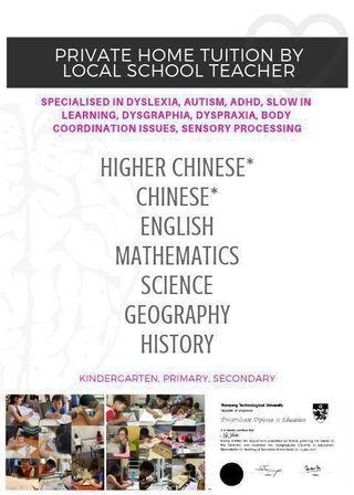 Private Tuition : Higher Chinese / Chinese / Humanities / Social Studies / Geography / History / Maths / English / Science • Dyslexia • Autism • ADHD • Slow In Learning • Dysgraphia • Dyspraxia • Body Coordination Issues • Sensory Processing