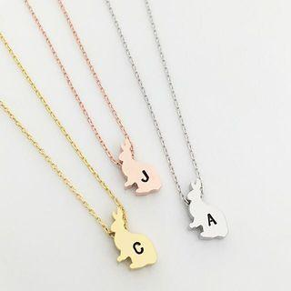 NL003- Personalized Modern Minimalist Cute Little Rabbit Easter Bunny Animal Necklace - Choose EITHER Gold, Rose Gold OR Rhodium Plated (Silver Tone) Personalised Necklace