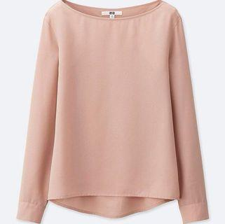 Uniqlo rayon T blouse long sleeve pink