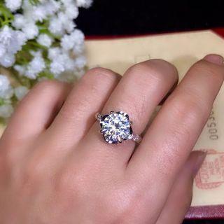 1,2,3卡莫桑鑽純銀戒指 不是鑽石
