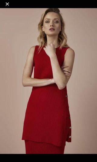 Red knit dress
