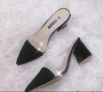 🚚 黑色透明懶人鞋