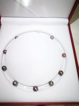 18k yellow gold with fresh water purple pearls 9 stars necklace