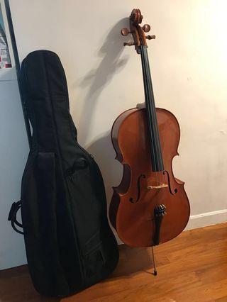 Full size大提琴全套送琴譜丶電子調音tuner 丶後備弦線,搬屋減價